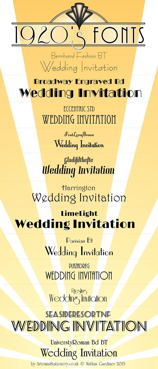 Gör inbjudningskort med typsnitt inspirerat från Art Deco. Kom ihåg att använda er av miljövänligt papper. [Do your own wedding-invitations with Art Deco fonts].