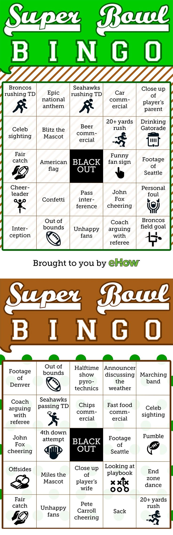 Super Bowl Bingo!! Perfect for anyone who wants to have fun while watching the game. 8 printable cards on the site!