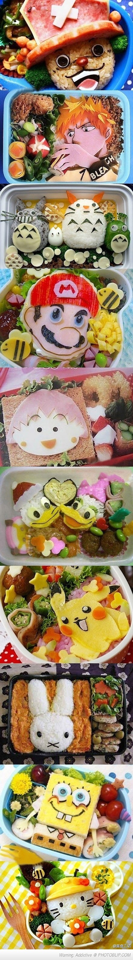 School Lunches That Japanese Moms Made For Their Kids } I don't remember my Mom making lunches like these. Maybe b/c she was past that point & Americanized? :)
