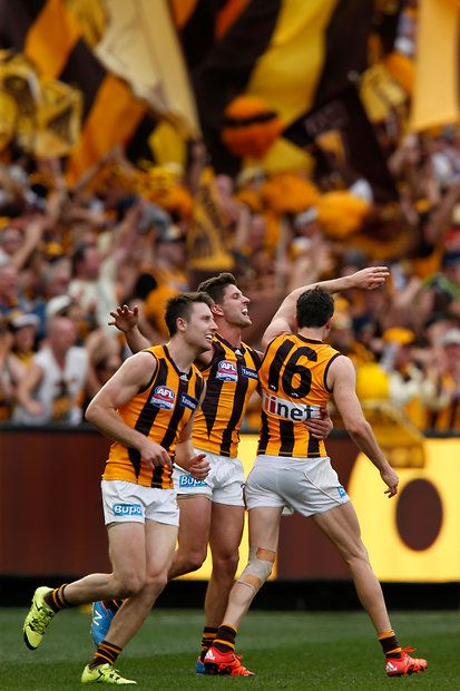 2015 Toyota AFL Grand Final - Hawthorn v West Coast - Isaac Smith of the Hawks celebrates a goal with team mates