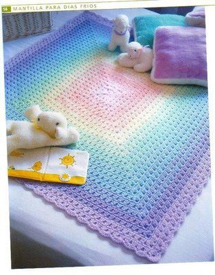 Granny soft rainbow colors blanket with diagram so easy to do. Spanish site (Inspiration for colors)