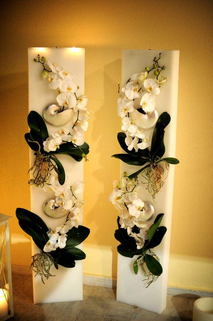λαμπαδες γαμου με μασιφ κερι , nautilus & phalaenopsis by Georgia candles .