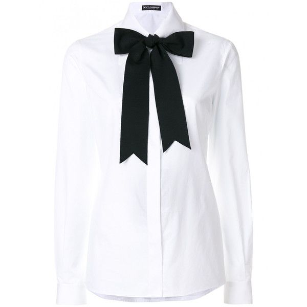 Dolce & Gabbana Cotton Shirt With Bow (13.850 UYU) ❤ liked on Polyvore featuring tops, blouses, shirts, white, white long sleeve blouse, bow collar blouse, long-sleeve shirt, cotton shirts and white collar shirt