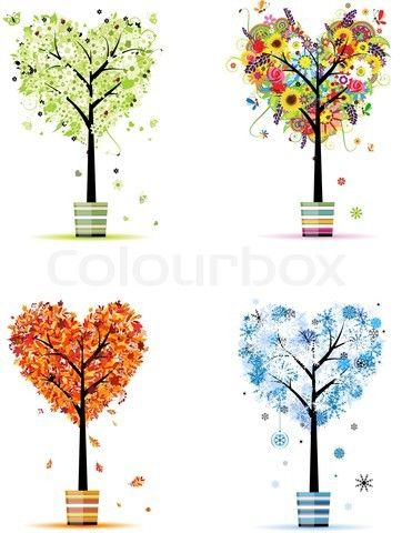 Stock vector of 'Four seasons - spring, summer, autumn, winter Art trees in pots for your design'