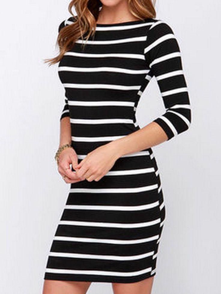Black Lace 3/4 Sleeve Bodycon Dress - Polyvore