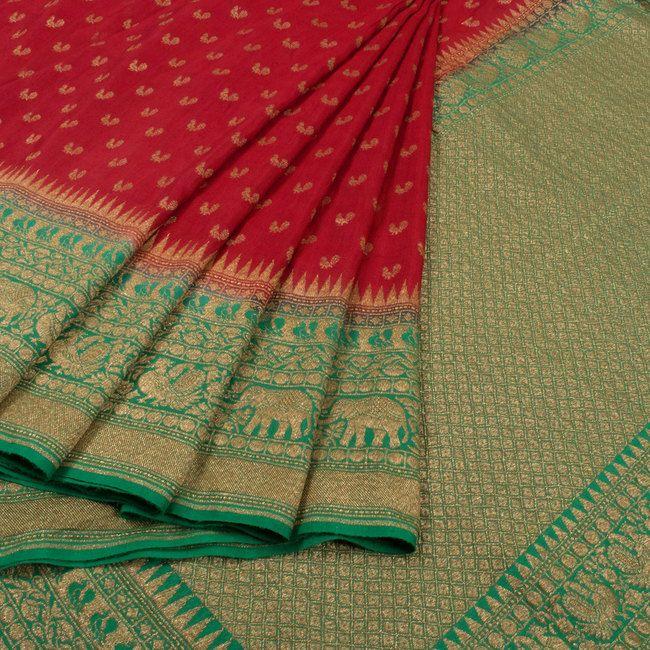 Handwoven Red Banarasi Katrua Muga Silk Saree With Peocock Motifs 10018402 - AVISHYA.COM