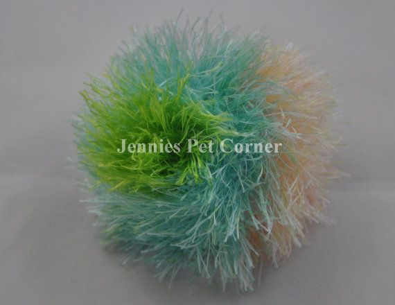 South Beach Stripes Hand Crocheted Kitty Poof Cat Ball Toy