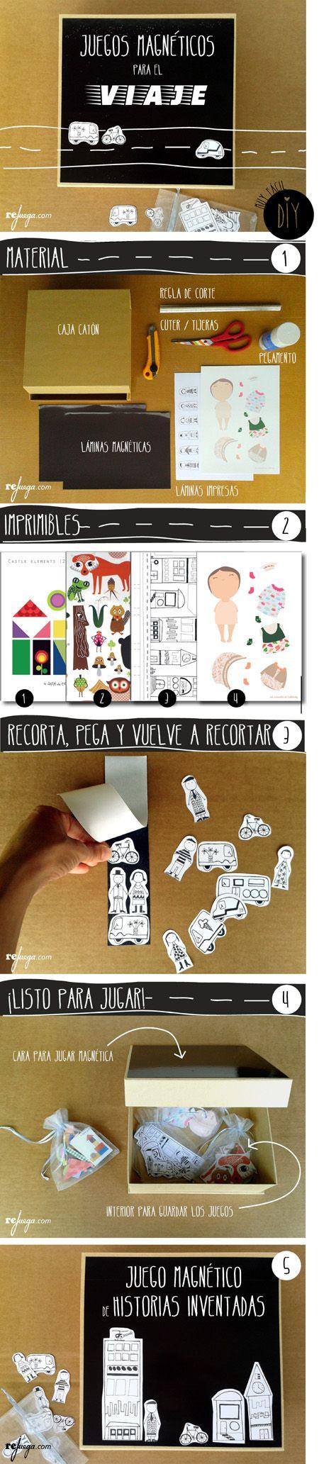 DIY sencillo para crear juegos de mesa magnéticos para niños. Ideal para llevar de viaje con los niños