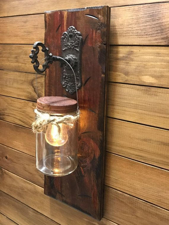 Wall Sconce Edison Battery Operated Led Light Bulb In Rustic Mason