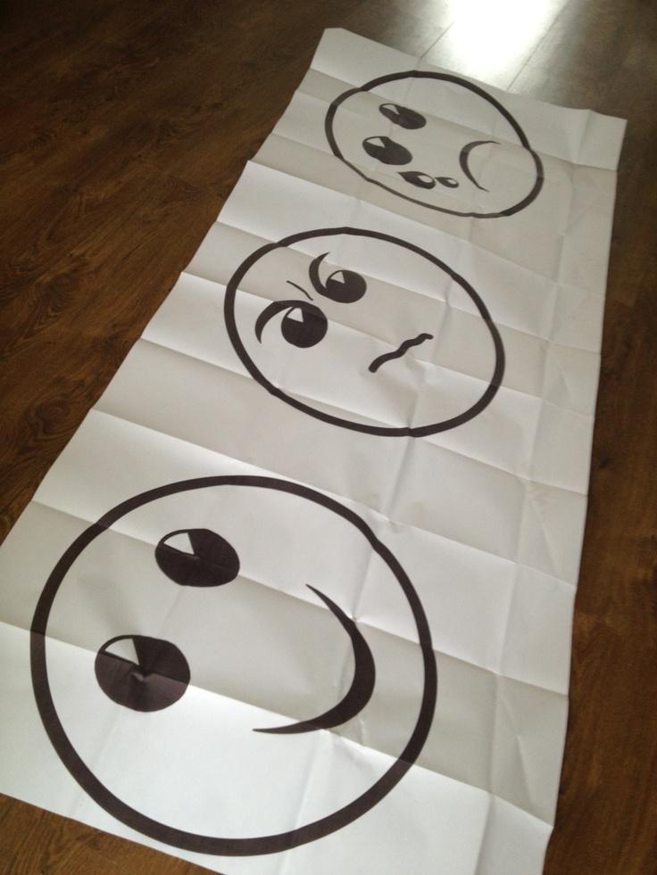 Smileys voor een supersnelle evaluatie /.... Laat iedereen op stickienotes schrijven: - waarvan word je blij (evt in bepaalde situatie) - waarvan word je verdrietig (raakt je diep) - waarvan word je boos (meestal korte actie, snel op te lossen) Leg de smiley-poster op de grond en ga er omheen staan.