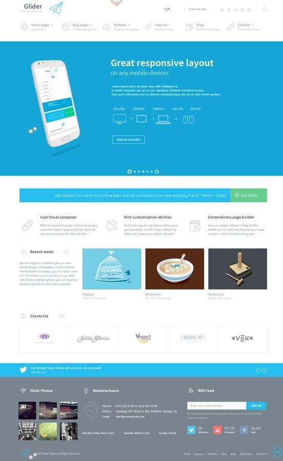 Glider • Clean & Powerful Flat stylish theme http://themeforest.net/item/glider-clean-powerful-flat-stylish-theme/4883460?ref=wpaw #web #design #wordpress