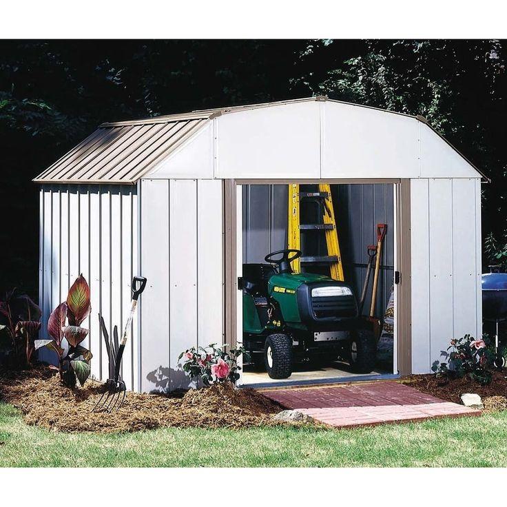 Arrow Lexington 10' W x 8' Galvanized Steel Storage Shed / LX108-A (Off-White (Beige))