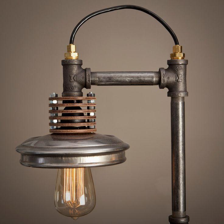 Iron Pipe Lamp with Wood Base. $750.00, via Etsy.