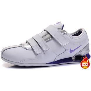 www.asneakers4u.com Womens Nike Shox R3 Velcro White Silver Purple