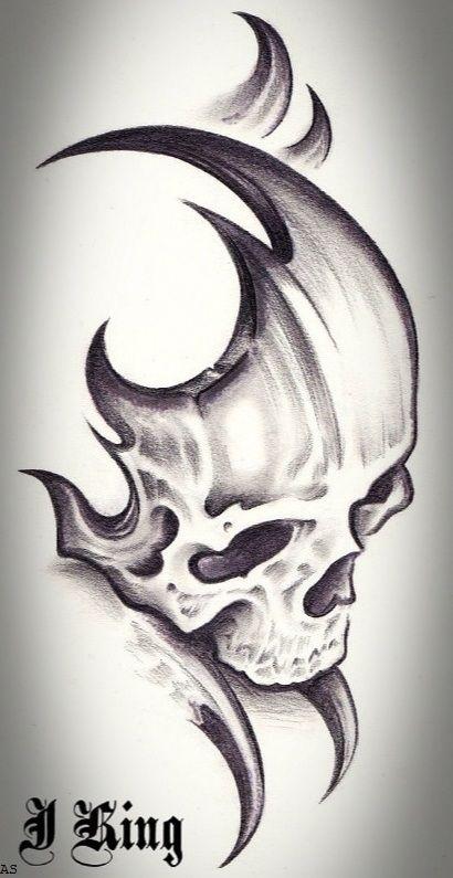 Creative Tribal Skull Tattoo Design