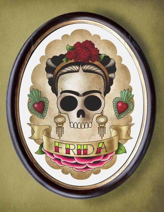 Frida skull girl 8x10 print flash tattoo imagery