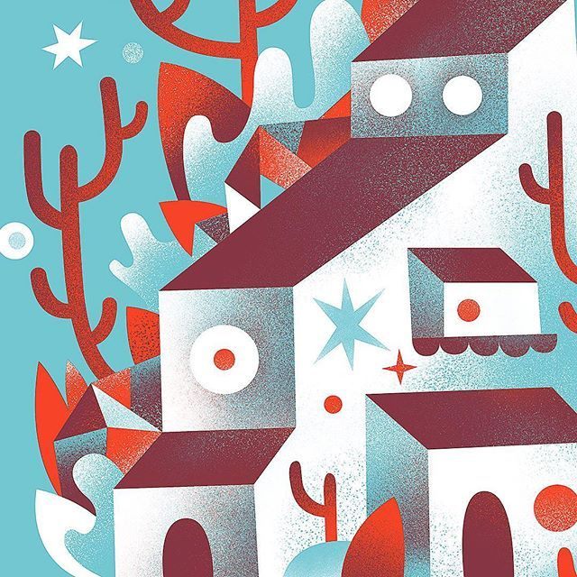 Scenic dwelling.  Red and blue.  . . . . #illustration #tree #architecture #illustrator #cactus #design #art #drawing #cabin #print #artwork #graphicdesign #artist #home #wilderness #nature #plants #trees #draw #digitalart #digitalpainting #house #vector #geometric #graphic #wildlife #wild #outdoors #rock