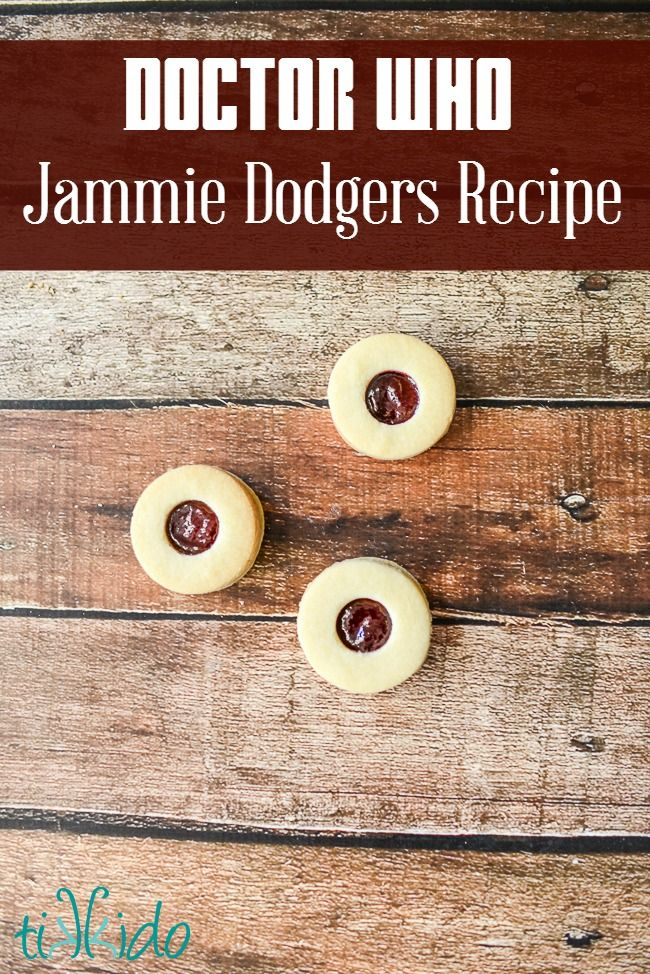 The Doctor loves Jammie Dodgers, the jam-filled sugar cookies that are similar to a linzer torte cookie. After making this recipe for the Doctor Who party, we all love them, too!