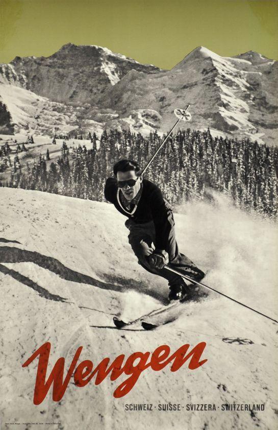 Wengen, Schweiz, Suisse, Svizzera, Switzerland (by Burch (photo) / 1935) Great photo-montage poster for Wengen in the Bernese Oberland in Switzerland.
