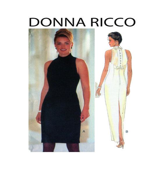DONNA RICCO New York Evening Gown Butterick 3821 Womens Sewing Pattern Sleeveless High Collar Sheer Back Tapered Skirt Sz 6-8-10-12 UNCUT by FindCraftyPatterns on Etsy