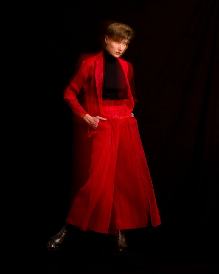 ccd126332c51 Issey Miyake Pleats Please October Jacket in Red with Brunello Cucinelli  Turtleneck Sweater in Black and Issey Miyake Pleats Please Thicker Bottom  Wide Leg ...