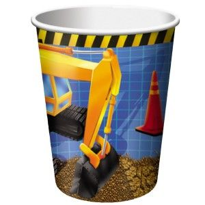 Under Construction Trucks 8 Party Cups