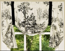 Butterfly valance in black and white toile.