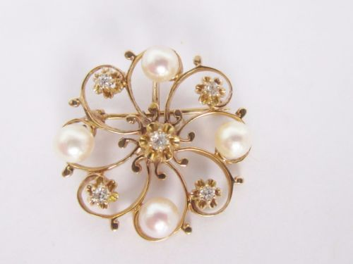 14k-Vintage-yellow-Gold-Circle-pin-brooch-Pearl-Diamond-Pin-pendant-combo
