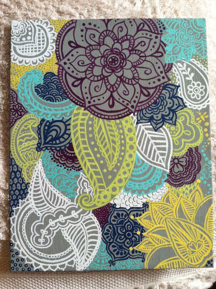 Canvas Design Ideas hand painted modern chevron arrow geometric canvas art by smileyryleecreations on etsy https Canvas Henna Design