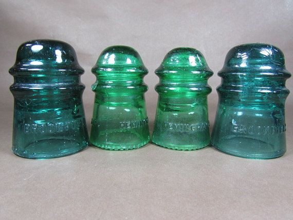 Vintage power line insulators blue glass by for Glass power line insulators