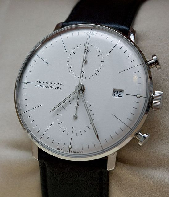 I love the sharpness and the crisp backplate on this Junghans Max Bill Chronoscope. http://www.junghans.de/html/pages/en_maxbill_armbanduhren_chronoscope.htm