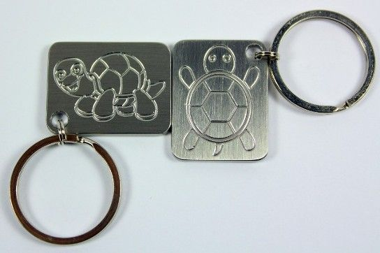 Turtle stainless steel key chain made by www.vermontcnc.com