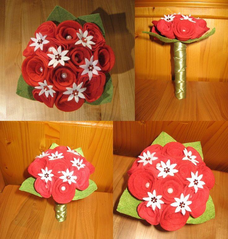 Filc és textil rózsacsokor