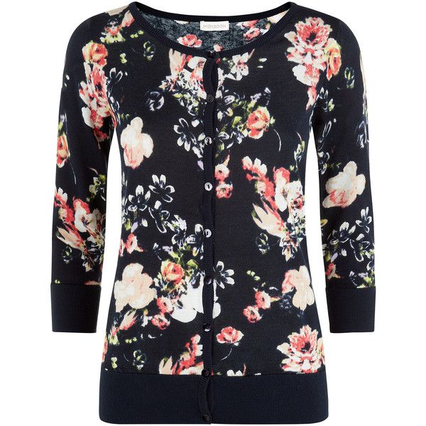 Monsoon Claudia floral cardigan ($24) ❤ liked on Polyvore featuring tops, cardigans, navy, navy floral top, cotton cardigan, floral print tops, lightweight cardigan and navy top