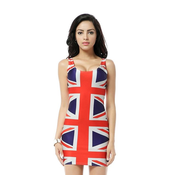 Bandage Dresses Union Jack Flag Dress Digital Print Mini Bodycon Women Summer Sexy Clothing for Party Club