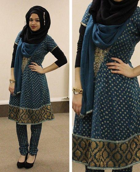 Saima Chowdhury - La Crystal Drop Earring, I.M Hijabs Black Hijab, Salwar Kameez, Primark Long Sleeve Top, New Look Heels, Gold Bangle, Skagen Watch - Traditional