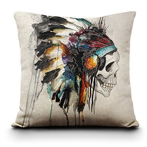 Indian Skull Chief Headress Throw Pillow Case Punk Tattoo Pinup Goth Rockabilly #Unbranded