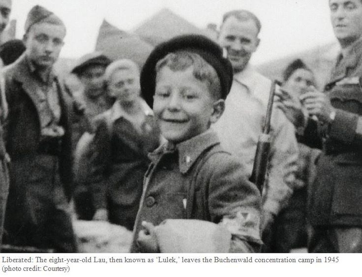 Liberated: The eight-year-old Lau, then known as 'Lulek,' leaves the Buchenwald concentration camp in 1945 (photo credit: Courtesy)