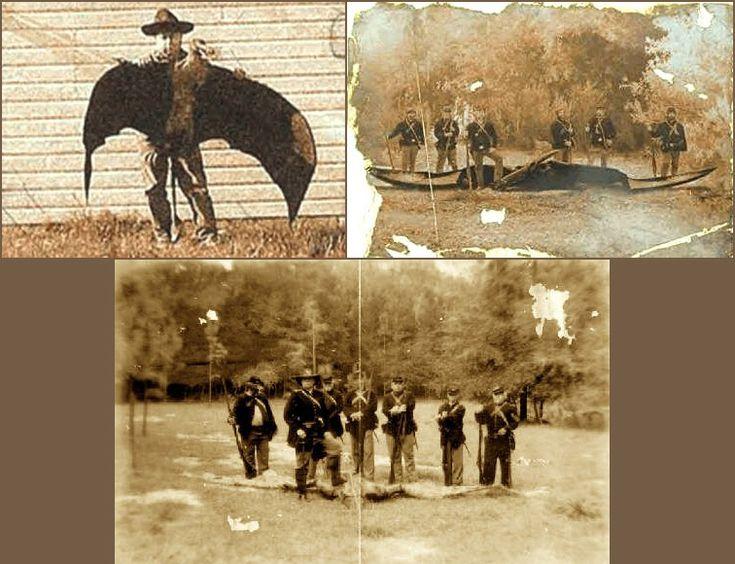 Algunas fotografías antiguas de pterodáctilos, criaturas voladoras que, según la ciencia, desaparecieron hace 150 millones de años. Aquí los vemos retratados como trofeos de caza.