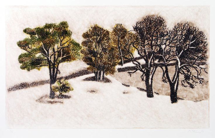 Milos Slama - Fall Under the Snow from my Window - (intaglio linocut)