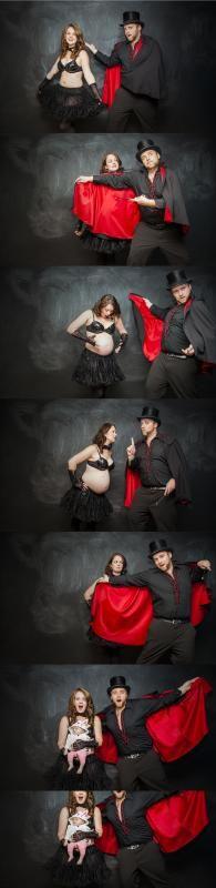 Creative birth announcement photo ideas: The Magic Show