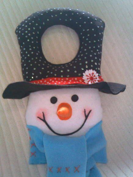 Boneco de neve confecionado em feltro e soft, enchimento acrílico.