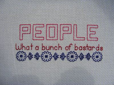 Two blackwork/back stitch patterns about People