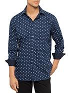 Flinders Lane Long Sleeve Fleur De Lis Print Shirt  #davidjones #meanswear #fashion #blue #flinderslane