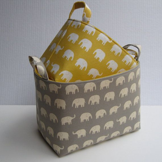 Fabric Organizer Storage Container Bins - Cream Elephants on Gray and Yellow - Set of 2 - Nesting