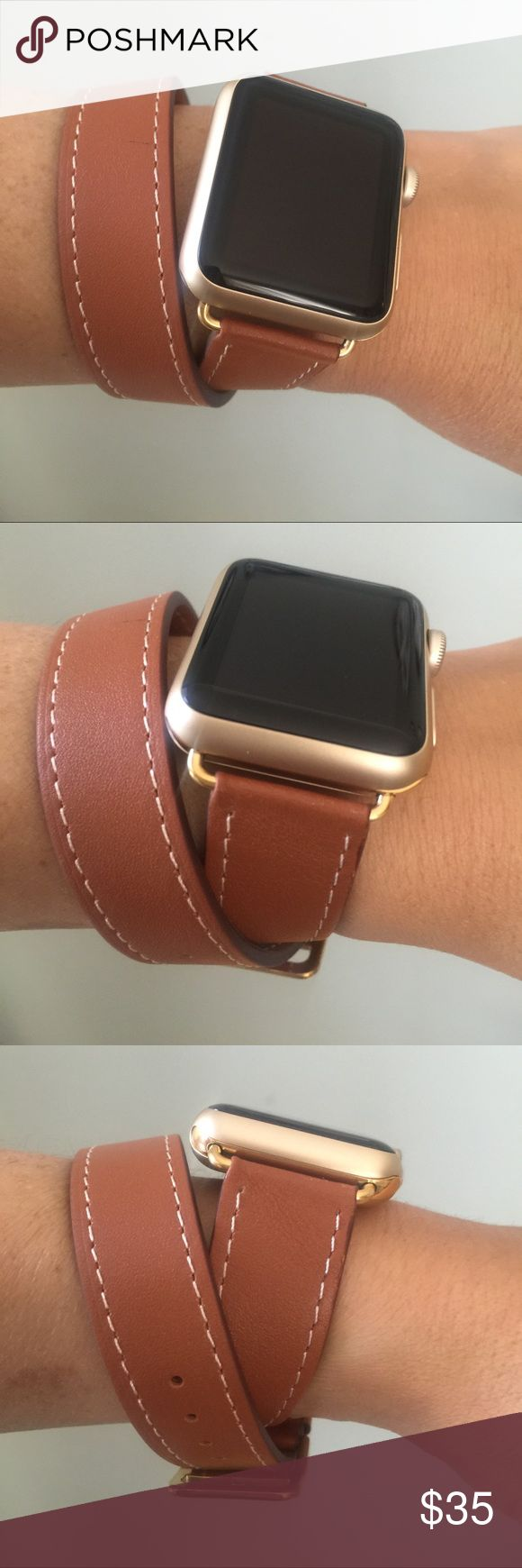 GOLD hardware Apple Watch band, brown leather! ❤️ Brown double tour Apple Watch band with GOLD hardware!   Double wrap leather band.  It comes in 38mm and 42mm. Please select your size when you purchase. The adapters also fit the Apple Watch Sport.   I also have other band colors, hardware colors and styles in my closet. Check them out!   I offer 15% off if you buy two or more! only the band is for sale; it does not include the watch. Other