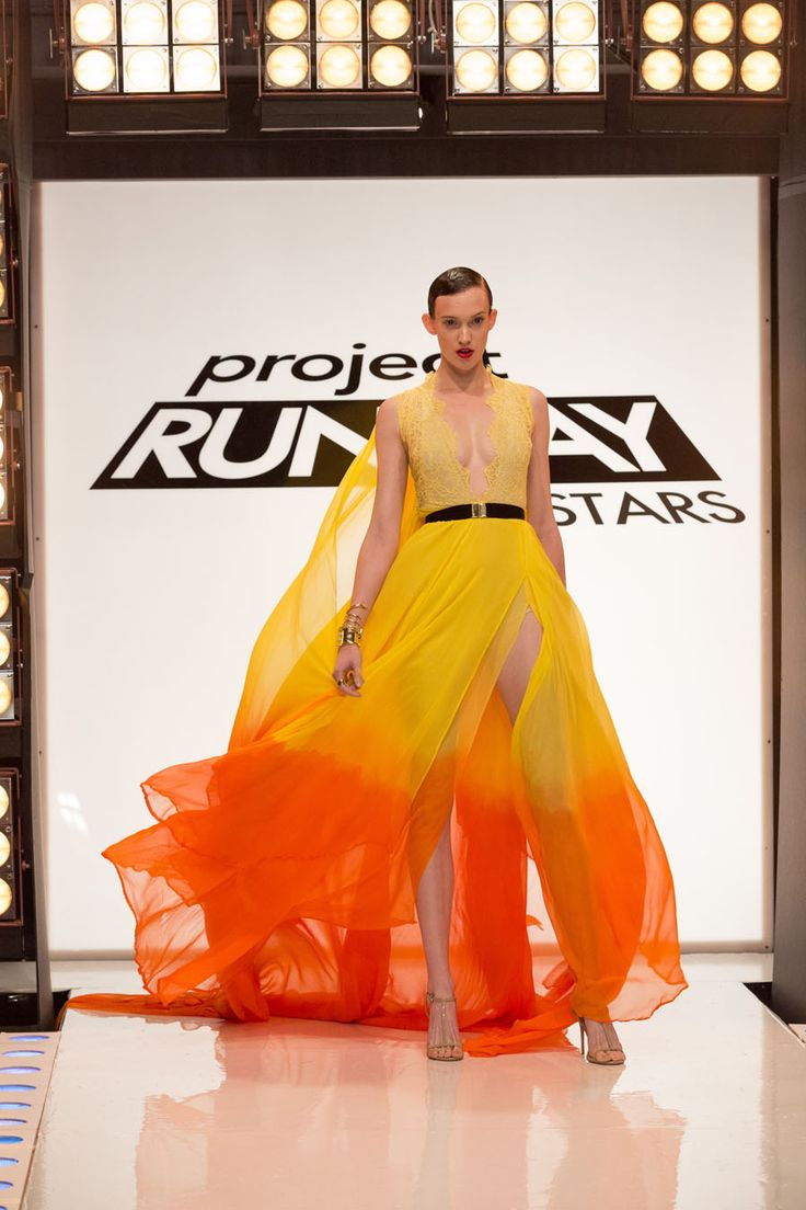 Kini Zamora look from episode 2 of Project Runway All Stars Season 5Yellow lace and chiffon ombre dress with belt (3 pieces) – Designer KiniAccessories do not come with the clothing