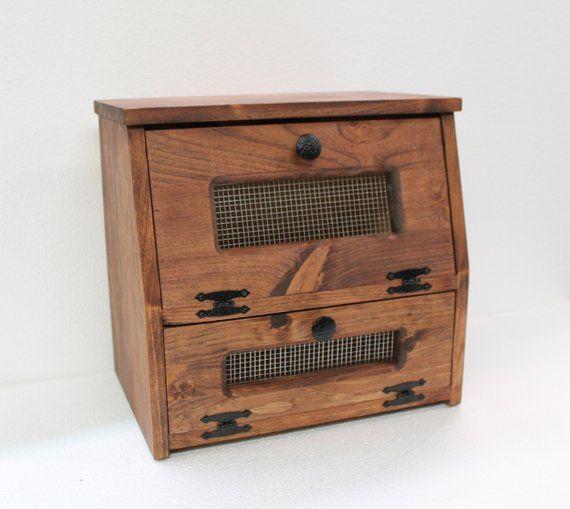Wooden Bread Box Vegetable Potato Bin Storage Rustic Farmhouse