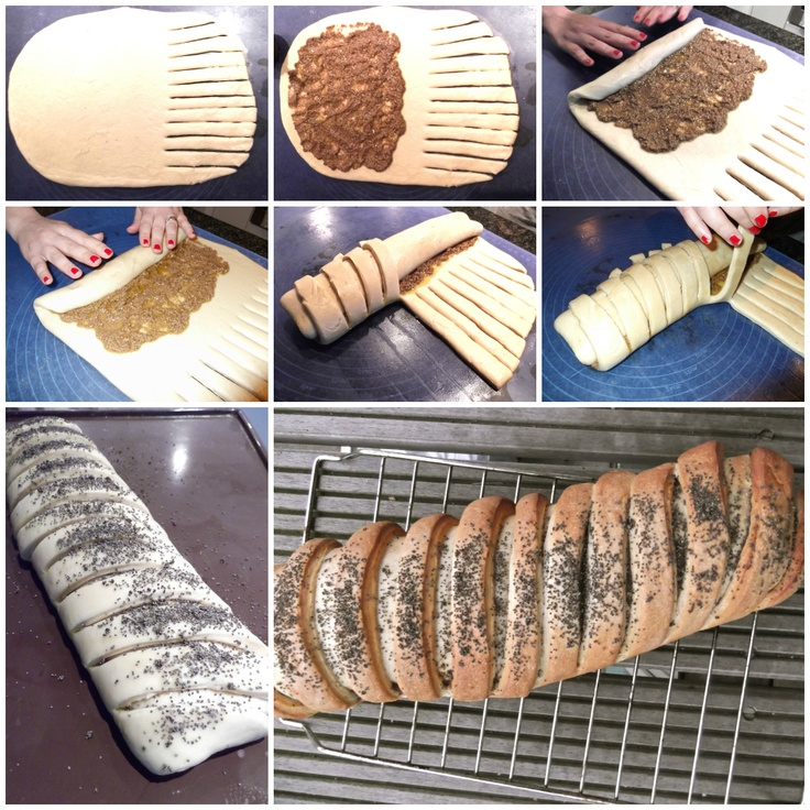 rolled bread loaf with olives pesto tutorial