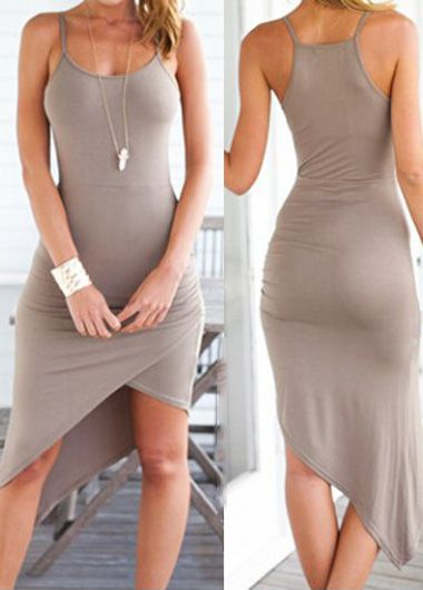Sexy Strap Design Solid Asymmetric Dress - Grey